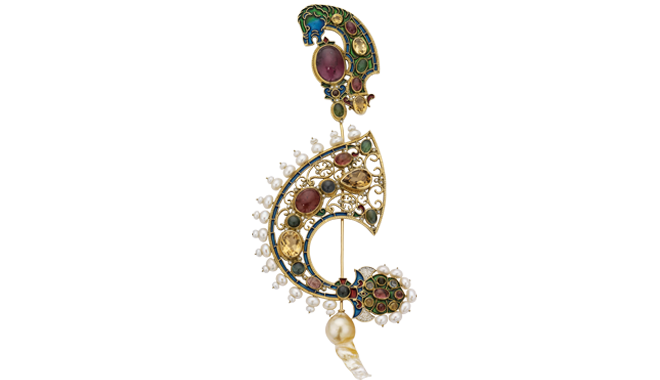 DF573 | PERCOSSI PAPI, ROME. 18ct Gold.  An Enamel, Gemstone &  Freshwater Cultured Pearl Brooch with a Golden South Sea Cultured Pearl Finial