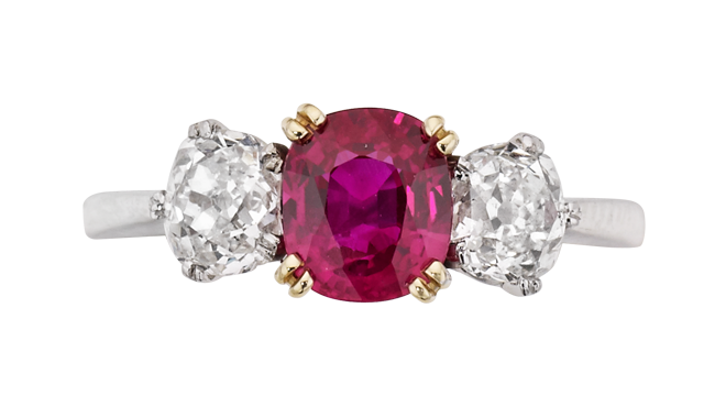 DP697 | Handmade.  18ct Gold. A Burma Ruby & Antique Cut Diamond set Ring (R: 1.37cts, D: 1.51cts)