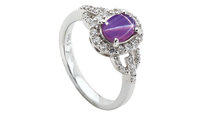DP957 | 18ct White Gold. A Star Ruby & Diamond set Ring (R: 0.97ct, D: 0.38ct)