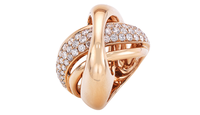 DQ548 | 18ct Red Gold. A Diamond Ring, pavé set (1.55cts)
