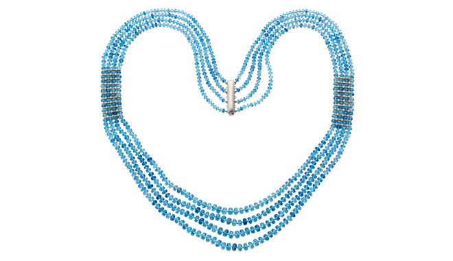 DQ550 | A Faceted Aquamarine Bead Necklace (403.79cts) with Diamond set Accents