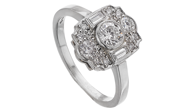 DR210 | Platinum. A Diamond set Ring (0.74ct)