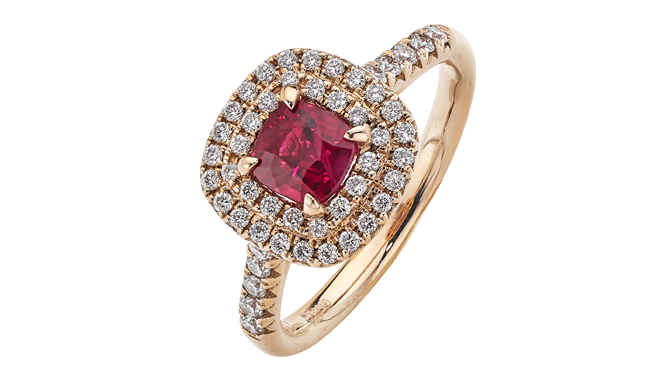 DS605 | 18ct Rose Gold. A Cushion Cut Burma Ruby & Diamond set Ring (R: 1.01cts, D: 0.42ct)