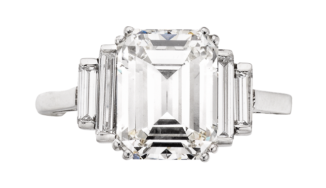 TSS283 | Secondhand.  Platinum. An Emerald Cut Diamond (3.53cts, I/SI1) set Ring with Baguette Cut Diamond set Shoulders