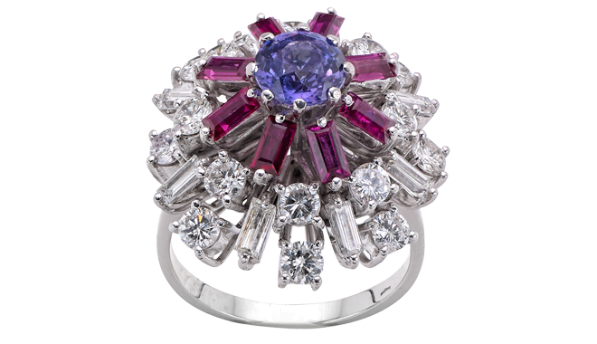 TSS953 | 1960s.  18ct White Gold. A Violet Sapphire (1.28cts), Ruby (Est.: 0.96ct) & Diamond (Est.: 2.08cts) set Ring