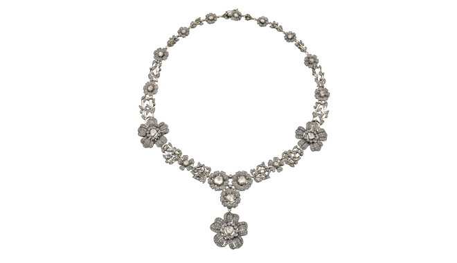USS076 | C20th. Silver & Gold. A Brilliant & Table Cut Diamond set Necklace in the Renaissance Style