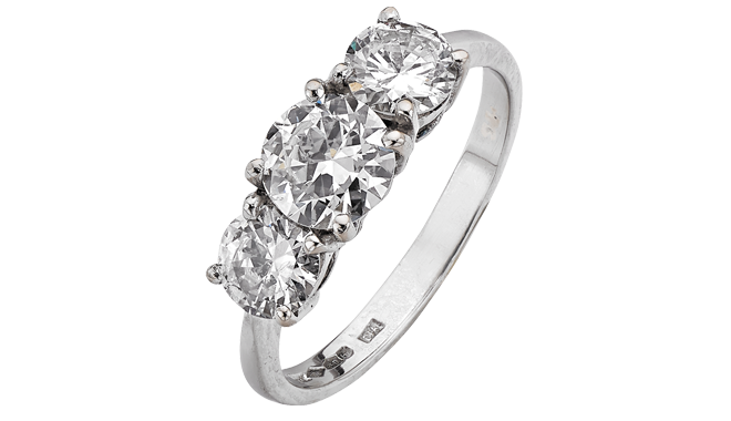 USS334 | Secondhand. Platinum. A Transitional Brilliant Cut Diamond set Ring (1.86cts)