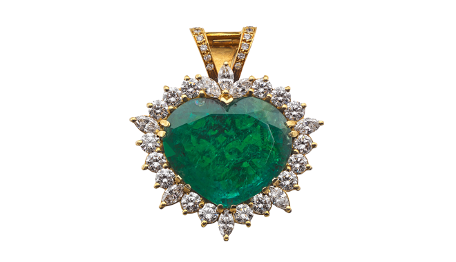 USS709 | Lon.2003. 18ct Gold.  A Heart Cut Emerald, Marquise Cut Diamond & Brilliant Cut Diamond set Pendant with a concealed Heart Cut Ruby (E.: 36.90cts, D. Est.: 4.14cts, R. Est.: 0.47ct)