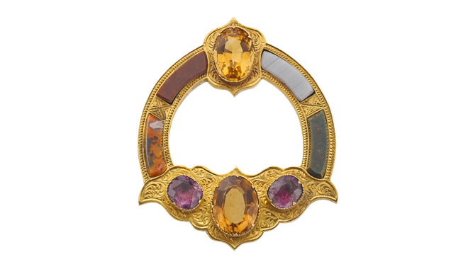 USS932 | c.1870. 15ct Gold. A Scots Agate, Amethyst & Citrine set  Plaid Brooch - cased