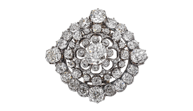 VSS216 | From the Estate of Eileen Wren,  Countess of Mount Charles. c.1860. Silver & Gold.  An Antique Cut Diamond set Brooch/Clasp (Main Stone Est.: 2.26cts, Total Est.: 17.49cts)