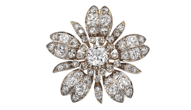 VSS218 | From the Estate of Eileen Wren,  Countess of Mount Charles. c.1860. Silver & Gold. An Antique Cut Diamond 'Flower Head' set Brooch (Main Stone Est.: 1.18cts, Total Est.: 4.85cts)