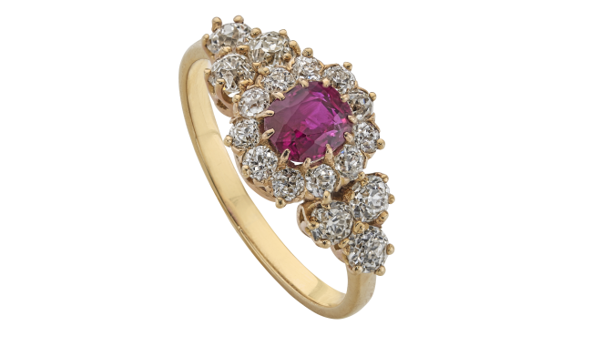 VSS646 | c.1880. Gold. A Cushion Cut Burma Ruby & Antique Brilliant Cut  Diamond set Ring (R. Est.: 0.72ct, D. Est.: 1.04cts)