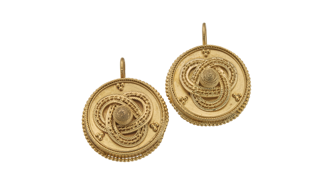 VSS761 | c.1900. Etruscan Revival Earrings - Approx 15ct Gold