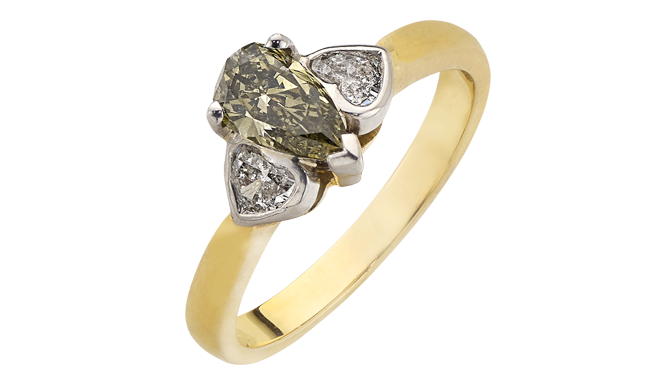 DF809 | 18ct Gold & Platinum. A Pear-shaped Green Diamond Ring (0.70ct) with Heart Cut Diamonds (0.29ct) to Shoulders