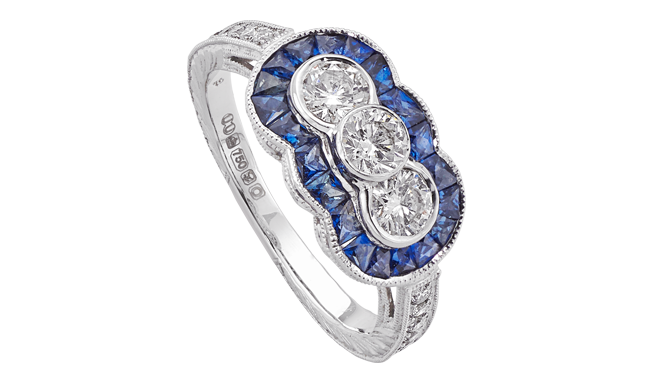 DM410 | 18ct White Gold. A Sapphire & Diamond set Ring (S: 0.70ct, D: 0.66ct)