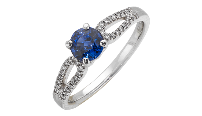 DQ408 | Platinum. A Brilliant Cut Ceylon Sapphire set Ring with Diamond inlaid Shoulders (S: 0.88ct, D: 0.10ct)