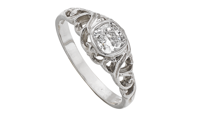DR638 | Platinum. A Cushion Cut Diamond set Ring (0.72ct)