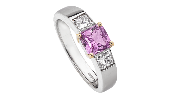 DS586 | Platinum. Handmade. A Princess Cut Pink Sapphire & Princess Cut Diamond set Ring (S: 1.24cts, D: 0.65ct, E/VS2)