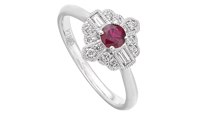 DS729 | Platinum. A Ruby & Diamond set Ring (R: 0.29ct, D: 0.21ct)