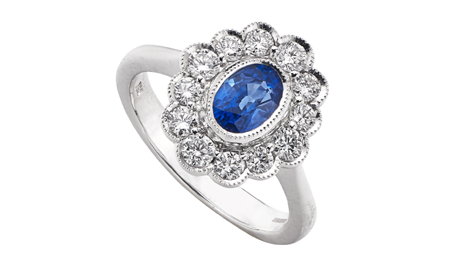 DS850 | 18ct White Gold. A Sapphire & Diamond set Ring (S: 1.11cts, D: 0.73ct)