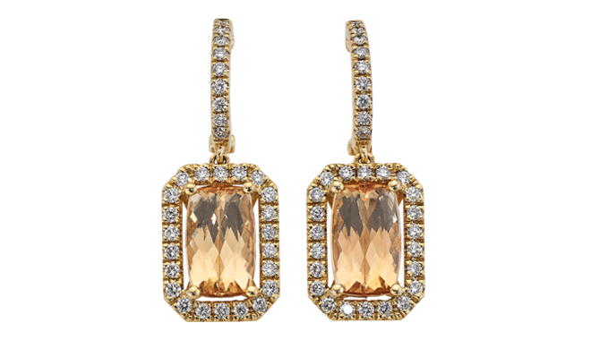 DT167 | 18ct Yellow Gold. Imperial Topaz & Diamond set Earrings (T: 4.99cts, D: 0.68ct)