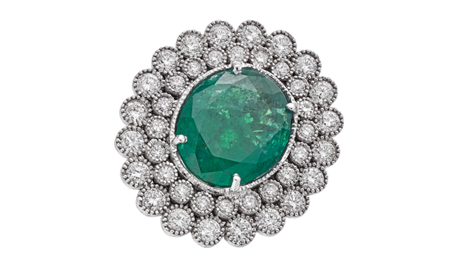 USS482 | C20th. An Emerald & Diamond set Ring - stamped '585' (E. Est.: 12.47cts, D. Est.: 2.60cts)
