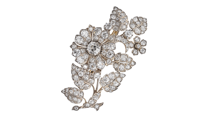 VSS219 | From the Estate of Eileen Wren, Countess of Mount Charles. c.1860. Silver & Gold. An Antique Cut Diamond set 'Flower Spray' Brooch (Main Stone Est.: 1.76cts, Total Est.: 15.16cts)
