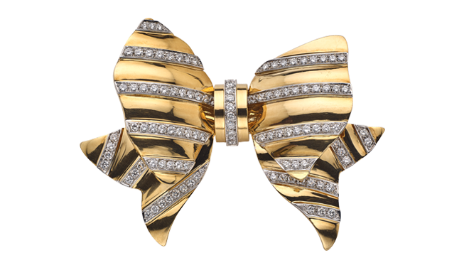 VSS241 | REPOSSI. Late C20th. A Diamond set Bow Brooch (Est.: 3.46cts) - stamped '750'