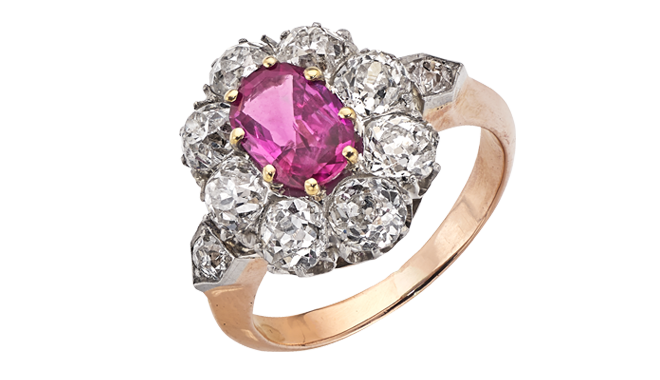 VSS386 | C20th. A Burma Ruby & Antique Cut Diamond set Ring (R: 1.31cts, D. Est.: 2.53cts)